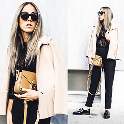 Alison Liaudat - Longchamp Camel Bag, Leather Jacket, H&M Black Pants, Jonak Black Derbies With Buckle, Vero Moda Lace Top, Céline Black Sunnies - Black & lace.