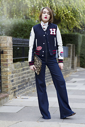 Ella Catliff - Citizens Of Humanity Overalls, Tommy Hilfiger Bomber, Alexander Mcqueen Scarf, Hobbs Clutch - Overall
