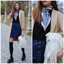 Yulia Sidorenko - Reserved Coat, Dressin Fringe Bag, Cars Denim Front Botton Skirt, Zara Platform Shoes - Neckerchief and white fringe