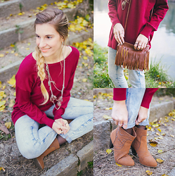 Cristina Siccardi - Tezenis Sangria Maxi Sweater, Zara Light Blue Boyfriend Jeans, Pimkie Brown Suede Ankle Boots, Dressin Brown Fringe Leather Bags - Fringe-obsession
