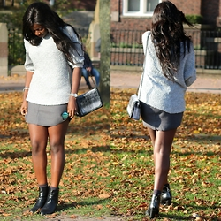 Odette Akoache - Primark Grey Jumper, H&M Scuba Skirt, London Rebel Ankle Boots, Asos Brushed Bag, Quay Australia My Girl Sunnies - Greys and Autumn Leaves