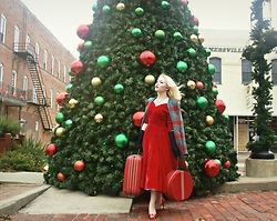 Erin Smith - Vessel Vintage 1950's Red Velvet Dress, Alice's Pig Plaid Coat, Manolo Blahnik Red Satin Heels, Handmade Jewelry Set - Home for the Holidays