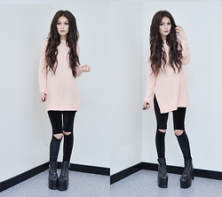 Julia Nilsson - Romwe Pink Sweater, Unif Neo Boots, Unif Ish Pants - Favorite Colors