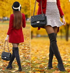 Ariadna Majewska - Burgundy Coat, Black Long Boots, Black And White Skirt - Retro