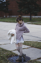 Sarah Huff - Target Roll Neck Sweater, Forever 21 Fur Coat, Urban Outfitters T Shirt Dress, Urban Outfitters Lace Shorts, Unknown High Socks, Forever 21 Boots - Moody