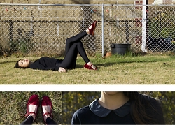 Gi Shieh - Forever 21 Black Collared Sweater, American Apparel Shiny Nylon Tricot Leggings, Urban Outfitters Velvet Mary Jane - Autumn Sun
