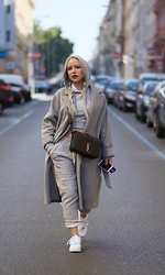 Olga Oliwye Soukupova - Zara Grey Wool Coat, Saint Laurent Paris Sac Université Black Silver Bag, Nike Air Force 1 Mid White Silver, H&M Grey Tracksuit Set - B-DAY GIRL