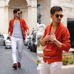 Adi SunriseInc - Asos Pants, Meermin Loafers, Asos T Shirt, Alcott Cardigan, Zero Uv Sunglasses, Kapten & Son Watch - Orange Cardigan