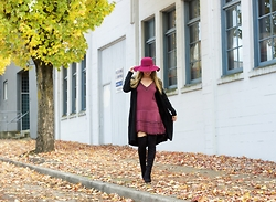 Christie Lohr - Hunni's Burgundy Hat, Hunni's Loose Black Cardigan, Gentle Fawn Burgundy Slip Dress - Layer up!