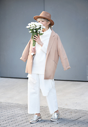 Esra E. - Forever 21 Oversized Camel Blazer, Mango Sheer Long White Blouse, Zara White Denim Culottes, Zara Silver Lace Up Shoes, Forever 21 Camel Fedora Hat - White&camel