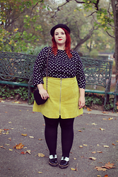 Audrey G. - Maïté Kelly X Bonprix Polka Dot Dress Wear Like A Top, Asos Curve Yellow Leather Skirt, Asos Black/White Creepers, Boohoo Heart Bag, Aliexpress Bowler Hat - British touch