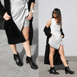 Kristy Wu - Senso Vincent Ii Boots, Staple The Label Ingrid Dress, Nique Knit Maxi Cardi, Rayban Rb3447 Sunglasses - Senso X Staple