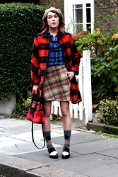 Ella Catliff - Kate Spade Coat, Equipment Shirt, Carven Skirt, Fratelli Rosetti Lace Ups, Falke Socks - Plaid on Plaid on Plaid