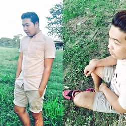 John Roy Agcaoili - Asos Flesh Button Down, Khaki Shorts, Adidas Shoes - Outfit Of The Day 0010