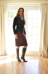 Wrapped In Scarlet - Ann Taylor Black Cashmere Sweater, Custom Made Burgundy Skirt, Newport News Black Leather Boots - Leather And Cashmere