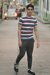 Alex Montilla - Xc2 Slim Joggers, Topitop Striped Shirt - Rainy Day