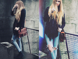 Martine Fimland - Pull & Bear Fringe Jacket, Market In Spain Leather Bag, Bik Bok Jeans - Nocturnal