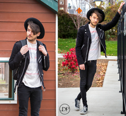 Corey Z - Tripp Nyc Cotton Biker Jacket, Junk Food Budweiser T Shirt, Asos Extreme Super Skinny Jeans, Converse Chucks, Official Fedora Hat, Casio Watch - I'm feeling Fedorable