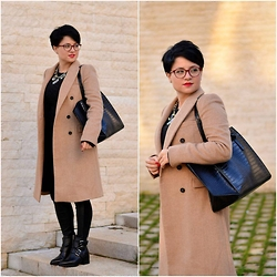 Chocolate Fashion Coffee - Mango Black Leather Ankle Boots, Zara Black Leather Leggings, Zara Camel Long Coat, Zara Black Tote Bag, Firmoo Red Glasses - Camel Crush
