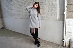 Sofie Rome - Primark Knit Dress, Avance Suede Knee Boots - Knee boots & cosy knits