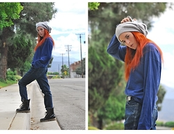 Rose Pendleton - Forever 21 Gray Pearl Beanie, Bullhead Jeans, 99 Cent Store Silver Dragon Finger Cap, Boyfriend's Oversized Long Sleeve Blue Shirt - Glamorized Miner