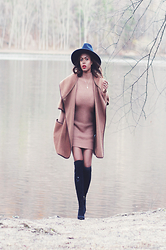 Rose L - Asos Fashion Union Ribbed Contour Jumper Dress, H&M Cape, Ivanka Trump Sarena Over The Knee Boots - FASHIONUNION