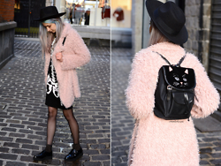 Léopoldine Cannibale - Sheinside Coat, Sheinside Skeleton Dress, New Look Hat, Claudie Pierlot X Vivetta Cat Bag, Asos Glitters Socks, T.U.K. Footwear Creepers - Mascara is too expensive to cry over stupid boys