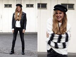 Mina T - Vintage Leather Jacket, Diesel Skinny Jeans, Zara Boots With Fake Fur, Zara Knit, H&M Hat - Back in the 90ies