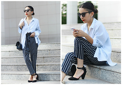 Vivi Valenzuela - Zara Striped Shirt, Asos Striped Peg Trousers, Asos Black Heels - STRIPES ON STRIPES