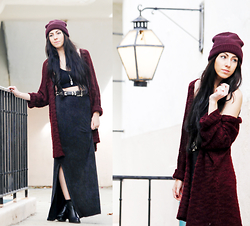 Chelsea Den - Forever 21 Burgundy Beanie, Vintage Leather Belt, Hanger 221 Double Slit Skirt, Chelsea Den Jewelry Quartz Necklace, Black Boots - Lantern Glow