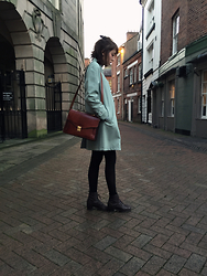 Zoë Harvey - David Barry Green Coat, Charity Shop Leather Bag, American Apparel Black Tights, Thrift Store Brown Boots - In Town