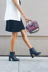 Shaheen Khan - Coach Justina Booties, Coach Swagger Bag - Moto Boots