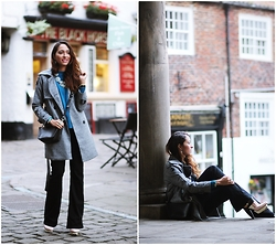 Virgit Canaz - Chicwish Trench Coat, Chic Wish Turquoise Sweater, Vero Moda Flares Jeans - Casual in Flares