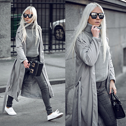 Oksana Orehhova - Zaful Coat, Lovelywholesale Sweater, Oceanfashion Bag - MESSY GREY DAY