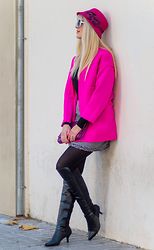 Tijana J.D - N&S Hat, Miniinthebox White Retro Sunglasses, Choies Pink Coat, H&M Clutch, Mini Skirt, Marypaz Black Over The Knee Boots - Hot Pink