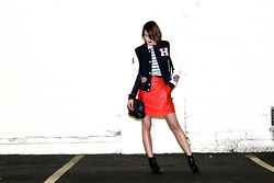 Ella Catliff - Tommy Hilfiger Varsity Jacket, Lindex Top, Thakoon Bag, Russell & Bromley Boots, Coach Skirt - Red & White at Night
