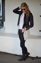 Christina Makholm - Zara Leather Jacket, Acne Studios Wool Jacket, H&M Jeans, Sixtyseven Boots, Gina Tricot T Shirt, Christian Dior Sunnies, Ole Lyngaard Beaclet, Kyboe Watch - Comfy Wool
