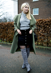 Ebba Rooth - Neon Rose Roll Turtleneck, Choies Over Knee Boots, Nelly Trend Buttoned A Line Skirt, Boohoo Khaki Coat - Art of Layering