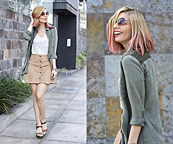 Didi Ibarra Rake - Pacsun Skirt, Hush Puppies Shoes, Moixx Sunnies - Planeteer