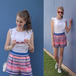 Heidi Landford - Zara Top, Forever New Shorts, Zara Shoes, Forever New Bag, Alannah Hill Sunglasses, Mimco Earrings - Stripes and Summer