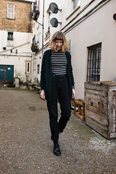 Toni Caroline - Asos Striped Rollneck, Cos Green Cardigan, Wrangler Black Jeans - Baggy Trousers