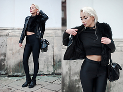 MONIKA S - Misbehave Misbhv Black Choker, Zara Pu Leather Jacket, Cndirect Furry Collar, H&M Turtleneck Crop Top, David Jones Lacquered Bag, H&M Ankle Boots, H&M High Waisted Disco Pants - HATE OR GLORY