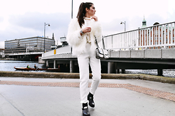Ilirida Krasniqi - Missguided Fur, Missguided Pants, Knit, Versage Jeans Bag - White on white
