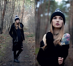 Ashi Monster - Local Heroes Badass Beanie, Black Hoodie Coat, H&M Long Tanktop, Tally Weijl Long Cardigan, Tally Weijl Torn Jeans, Jenny Fairy Military Boots - Black is such a happy colour