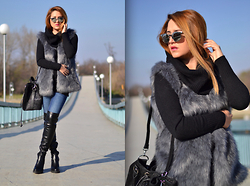 Martina Manolcheva - Faux Fur Vest, H&M Sweater, Zara Jeans, Leather Over The Knee Boots, Bag, Mirrored Sunglasses - Leather And Fur
