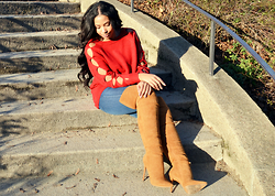 Chiara Culture With Coco - Fashion To Figure Red Cut Out, Fashion To Figure Skinny Jeans, Amiclubwear Over The Knee - The Read Sweater