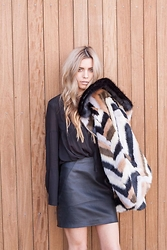 The Pearl Oyster - Topshop Faux Fur, Asos Leather Mini, Nasty Gal Blouse - Faux is right