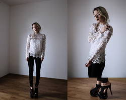 Annette Zer - Cndirect White Lace Blouse, Dr. Denim Black High Waist Jeans, Gianmarco Lorenzi Couture Suede Platform Heels - So many miles between us now but you are always here with me