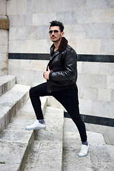 Alessio Convito - Schott Jacket, Axel Arigato Shoes, Xagon Man Pants - Dark Tones