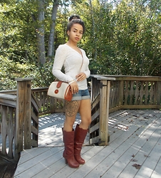KaiaCeline R. - Dooney & Bourke Crossbody Bag, Forever 21 Sheer Long Sleeve Shirt, Charlotte Russe Boots - What Season Is This